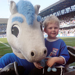 Alex and Bluey the club mascot