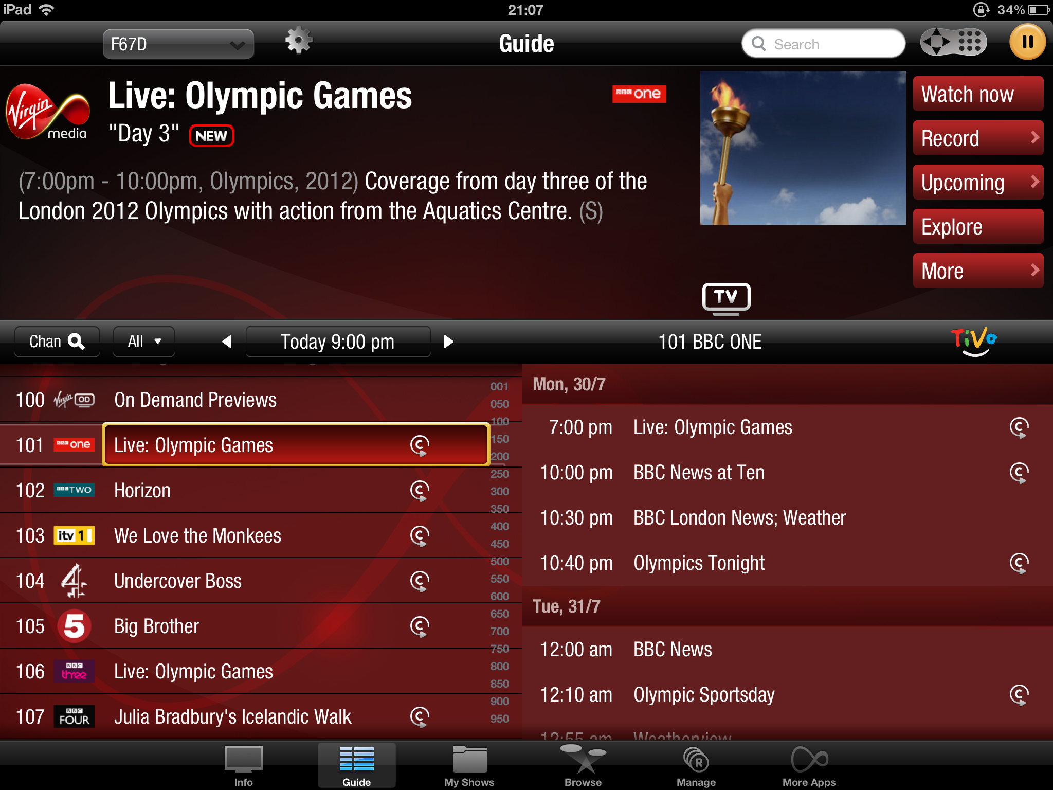 Virgin Media TV Anywhere iPad app - TV Guide screen